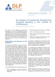 an analysis of leadership development programmes executive summary 11 an analysis of leadership development programmes