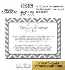 baby display shower card grey white chevron 4x3 size unwrapped gifts request instant