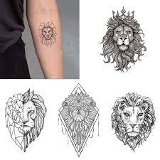 черный тотем лев временная татуировка женский рука наклейки вода