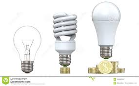 Led Stack Light Bulbs 3d Rendering Of Tungsten Fluorescent And Led Bulbs On