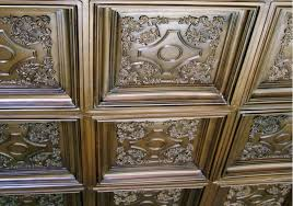 coffered ceiling in a grid system in antique copper