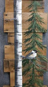white birch pine tree reclaimed wood pallet art tall hand painted white birch chickadee bird upcycled wall art distressed original acrylic painting on  on wood pine tree wall art with barn wood wall art rustic decor wood pallet art white birch pine
