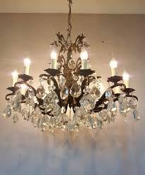 french c1910 antique 12 arm birdcage gilt brass crystal chandelier