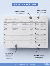 Job Application Tracker Printable A4 Us Letter Digital