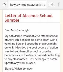 Sample Letter Of Absent From School What Is A Good Sample Letter To Write An Absence From School Quora