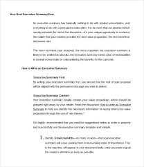 Executive Summary Sample For Proposal Executive Brief Template Ceansin Me