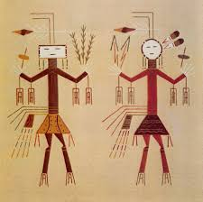 male and female yeis eugene baatsoslanii joe mark bahti navajo sandpainting art