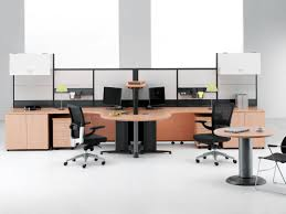 long office desk. Tidy Small Office Space Exposing Dark Loveseats And Round Table Also Long Desk In Orange Touches For Your Room Concept