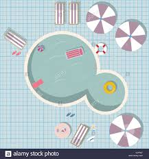 swimming pool vector. Swimming Pool Vector Illustration With Toys Like Rubber Ring, Pool, Air Mattress.