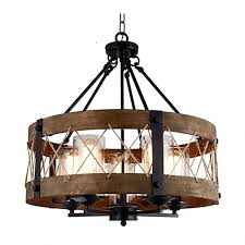 round wood shade with rope farmhouse pendant ceiling