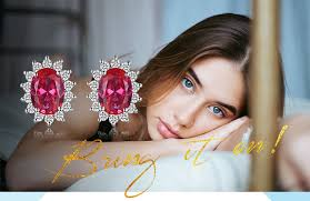 JPalace Diana <b>Created Ruby</b> Stud Earrings 925 Sterling Silver ...