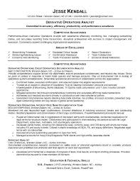 Example Derivative Operations Analyst Resume Free Sample