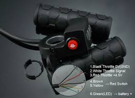 a twist throttle with battery gauge is used for e bike e motorcycle widely and used to control a vehicle s sd the red on from twist throttle is a