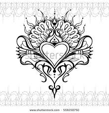 Sketch Tattoo Henna Heart Mehndi Element Stock Vector HD Royalty