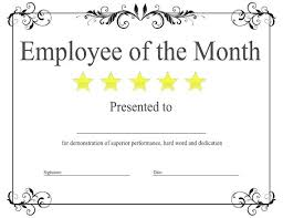 Employee Of The Year Certificate Template Free Employee Of The Month Certificate Template 9 Best Example