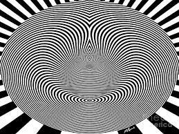 black and white digital art crazy circles by methune hively