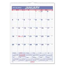 Monthly Wall Calendar With Ruled Daily Blocks By At A Glance