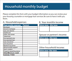 sample household budget monthly household budgets gidiye redformapolitica co