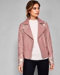 ted baker dusky pink jackets womens jaydeea harmony embroidered leather biker jacket