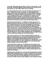 opinion essay t v good or bad gcse english marked by  page 1 zoom in