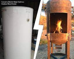 Convert A Electric Water Tank To A Outdoor Wood Heater Wood Heater Diy Wood Stove Outdoor Wood