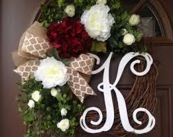 initial wreaths for front doorYear Round Hydrangea Wreath for Front Door Monogrammed