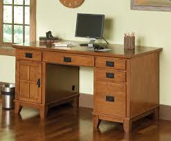 Furniture Light Brown Varnished Oak Wood Computer Desk With Short Table  Legs And Drawers In Cream