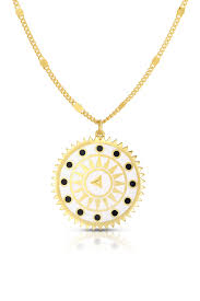 image of sphera milano 18k gold plated sterling silver compass pendant necklace