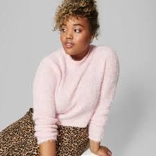 Fuzzy Light Pink Sweater Womens Plus Size Fuzzy Crop Mock Neck Sweater Wild Fable