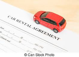 Car Rental Agreement With Car On Center. Auto Rental Agreement Or ...