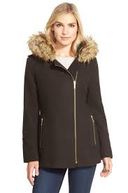 image of michael michael kors faux fur trim belted asymmetrical wool blend coat