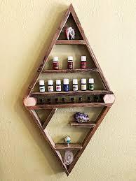 wood double triangle floating shelf
