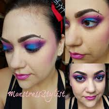 80 s inspired makeup look purples pinks and blues oh my