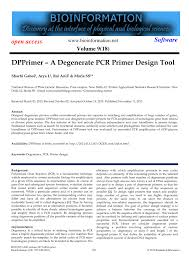 Primer Design Tool Pdf Dpprimer A Degenerate Pcr Primer Design Tool