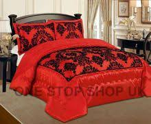 Luxurious 3 Pcs Flock Quilted Bedspread / Comforter Set - BEIGE ... & Luxurious 3 Pcs Flock Quilted Bedspread / Comforter Set - RED WITH BLACK -  RV Adamdwight.com