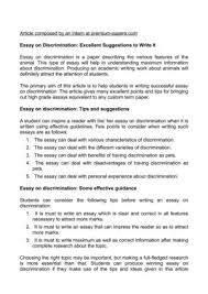 essay on discrimination excellent suggestions to write it essay on discrimination excellent suggestions to write it