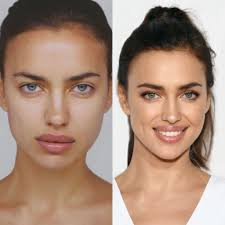 irina shayk with and without makeup