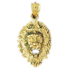 details about 14k gold lion head pendant yellow white or rose az1665 14k