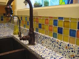 bubble tiles carribbean mix next to vetrazzo countertop