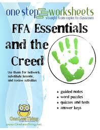 FFA Basics & The Creed, One Step Worksheets | FFA and Worksheets