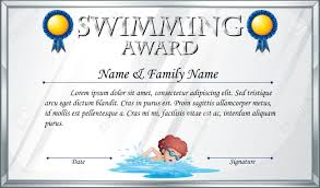 Certificate Template For Swimming Award Illustration Royalty Free