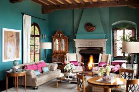 Turquoise And Brown Living Room Living Room Attractive Turquoise Paint Color Fireplace Wall