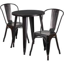 round top indoor outdoor table set with 2 cafe chairs to enlarge