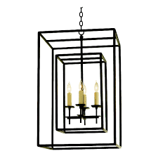 v194 hand forged four light iron chandelier