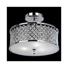 hudson 3ch 3 light diamond chrome crystal ceiling light
