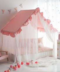 KIDS HOUSE BED | FRILL CANOPY SERIES | PINK