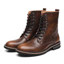 men british style cow leather non slip high top casual boots
