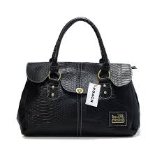 Coach Embossed Lock Medium Black Satchels DDZ