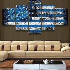 detroit lions wall art lions flag logo sports boys room painting on canvas home prints room detroit lions wall art