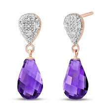 Amethyst Diamant Tröpfchen Kronleuchter Ohrringe Roségold 375